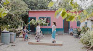 Martha Vega Hernandez and her granddaughter on a tarima in Veracruz, Mexico